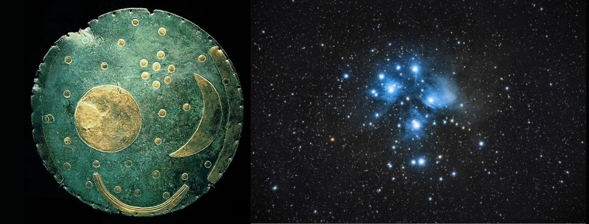 Nebra Sky Disc and Astronomy photo both showing the Pleiades